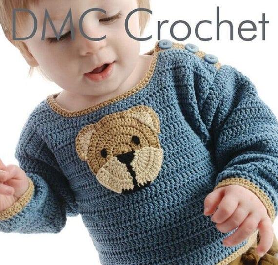 Baby Pullover mit Teddy Bear Mofit häkeln Muster nur Natura | Etsy