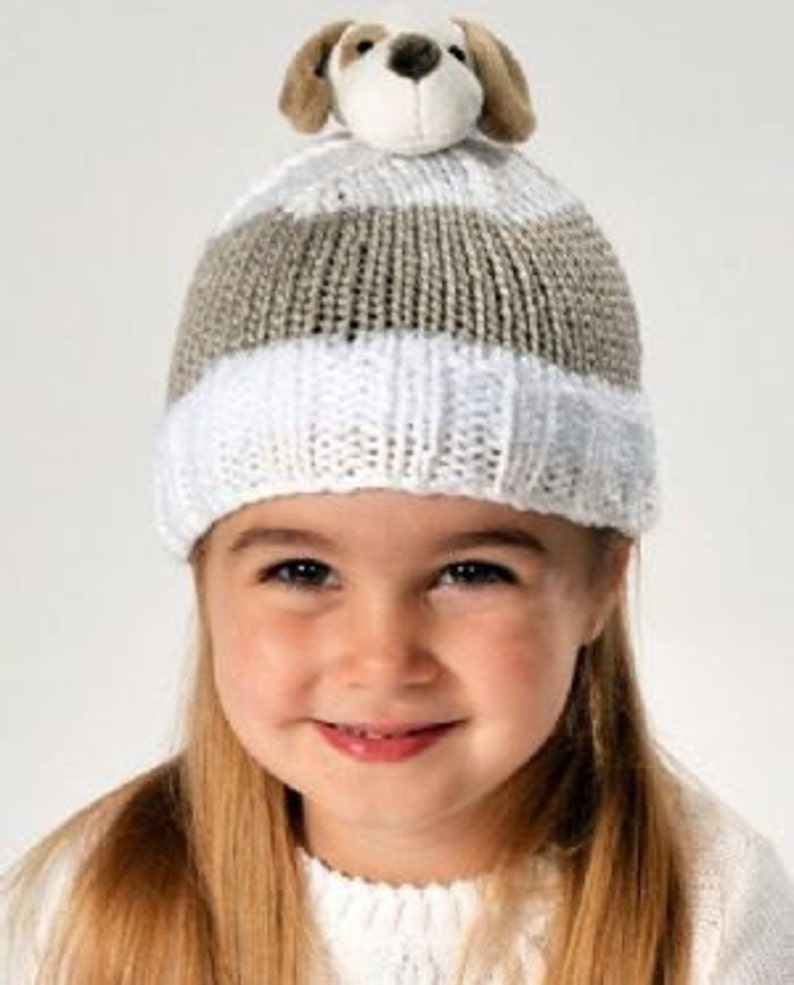 ff1f6fc94 DMC Top This PUPPY Hat Knitting Kit with a Yarn and Character Pom Pom
