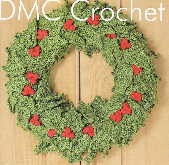 Christmas Festive Holly Garland Wreath Crochet Pattern Only Etsy