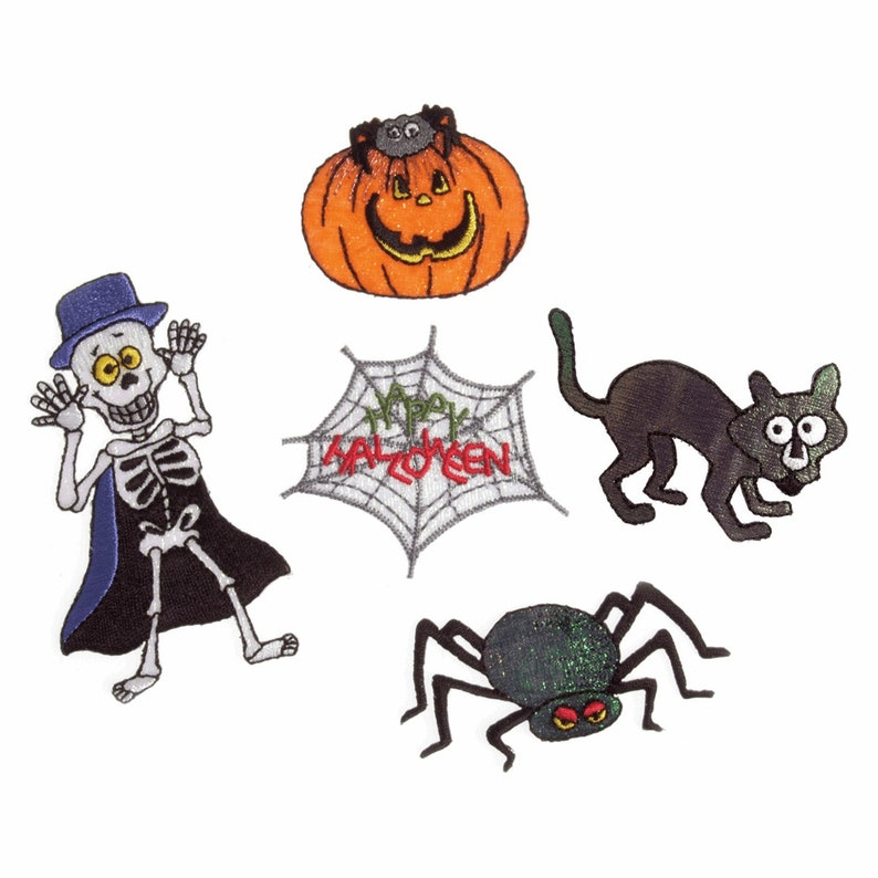 Embroidered Motif Strip  Halloween 2 of each pumpkin spider cat spider web and skeleton