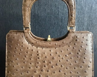 4935fad49602 Vintage Widegate London Ostrich Leather Handbag from 1940 s