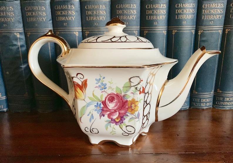 Vintage Sadler Hexagon Floral Teapot from 1940/'s