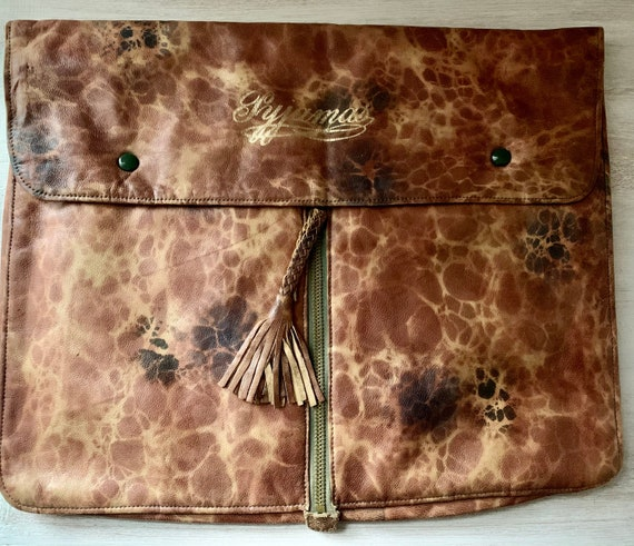 Vintage Marbled Leather Pyjamas Bag From 1930'S