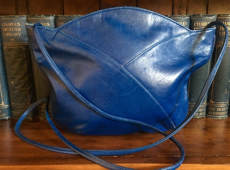 Vintage Electric Blue Leather Hip Bag by Russell /& Bromley Made in Italy 1960/'s