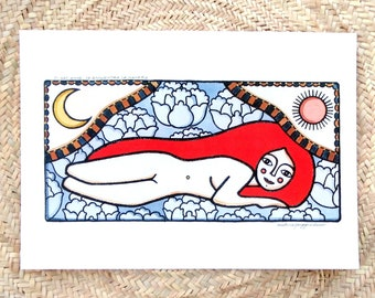 Red hair lady, Sun and Moon, Fine art colour print, A3 size, Hand retouched with golden paint, Inspirational quote, Female nude and Nature