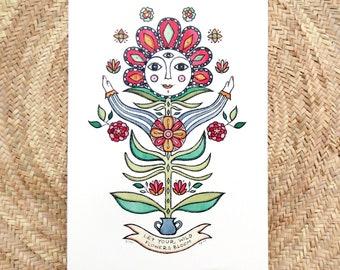 Totem inspiration, Flower totem illustration with inspirational quote, Folk art inspired, Folk art lovers high quality digital print.