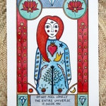 Tarot cards inspired art print, hand finished with gold ink, Rumi poem inspirational quote, red hair lady symbolic portrait, limited edition
