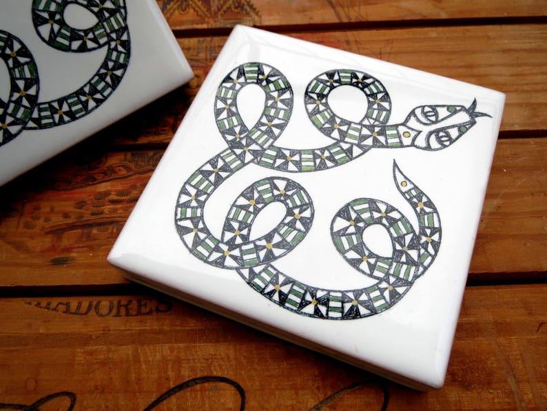Decorative tilelimited edition tile boho home decor ceramic image 0