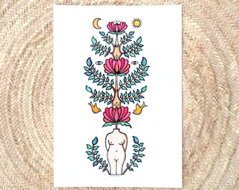 Fine art print, A3 size, Hand retouched with golden paint, Female nude, yellow birds and pink flowers, Collectible art, Line drawing.