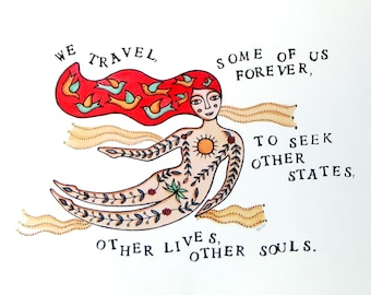Fine art print A3 size, Flying lady with red hair and tattoos, Birds, Sun and Moon, Quote by Anais Nin, Contemporary illustration.