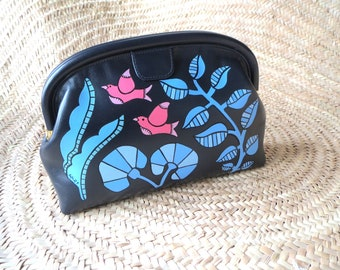 Hand painted vintage clutch bag, Evening vintage leather clutch bag hand painted with plants and birds, Exclusive one of a kind painted bag.