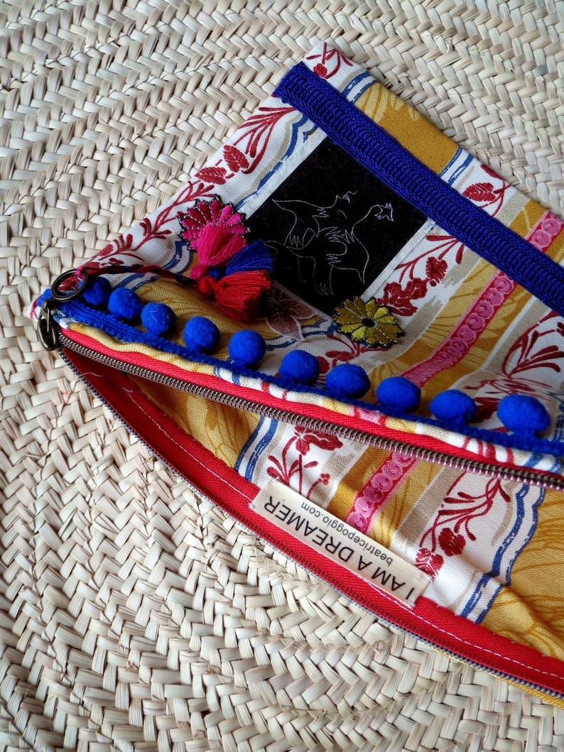 Fabric pouch patchwork clutch bag handmade clutch bag lace and tassels pouch art print Fabric clutch bag Make up storage pouch