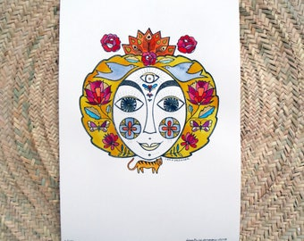 Art print on paper with watercolour, hand coloured print, surreal portrait, woman portrait with flowers and birds, boho illustration