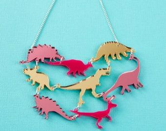 Pink Dinosaur Gang Acrylic Necklace // Laser Cut, Cute Jewellery //  Dinosaur Acrylic Jewellery