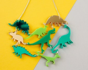 Green Dinosaur Gang Acrylic Necklace // Laser Cut, Cute Jewellery //  Dinosaur Acrylic Jewellery
