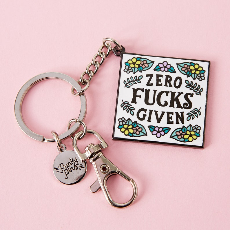 swearing gift Zero F*cks Given Enamel Keyring Punky Pins Adult Key Chain  Rude key ring  Offensive