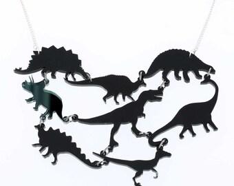 Black Dinosaur Gang Acrylic Necklace // Dinosaur jewellery // Dinosaur necklace