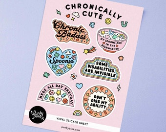 Chronically Cute Sticker Sheet A5 // Planner stickers // Illustration stickers // Chronic Illness, Spoonie stickers // Laptop decals