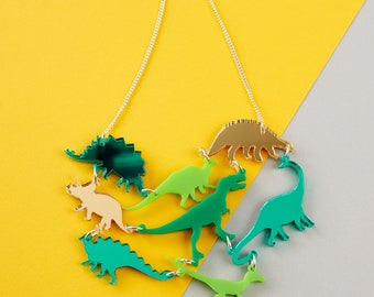 Dinosaur Necklace //  Green OR Pink Mirror acrylic dinosaur statement necklace // Laser cut Dinosaur Acrylic Jewellery