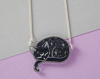 Mystical Cat Acrylic Laser Cut Necklace // Space Kitty Jewellery // lOll3 Black Cat