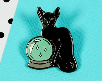 Fortune Teller Cat Enamel Pin with clutch back // EP133