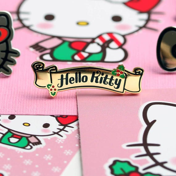 Hello Kitty Christmas.Sale Hello Kitty Christmas Banner Enamel Pin Official Sanrio Licensed Product Christmas Kitty Lapel Pin Pin Badge