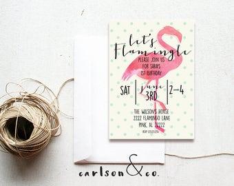 Flamingo Invitation | Flamingo Birthday Invitation--Digital Printable