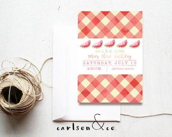 Picnic Invitation   Summer BBQ   Watermelon   Digital Printable