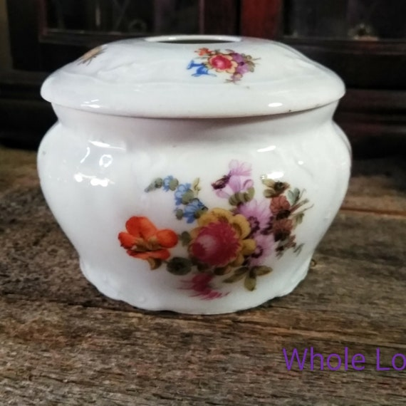 Antique Hair Receiver Vanity Porcelain Box Vintage Hair Etsy