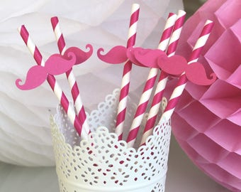 Set of 6 fuchsia for kids birthday mustache straws