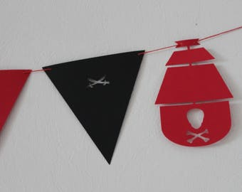 Pirate flags Garland - red and black-customizable - birthday child name