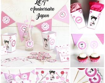 Lot anniversaire pour enfant - personnalisé age et prénom enfant - thème japon rose- pour 6 enfants-pret a decorer - candy bar