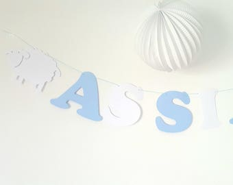 Garland of paper 210gr on cotton-coated colors matching sheep initials