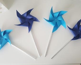 4 moulins bleus-turquoise et marine- pour décorer vos tables de fêtes - mariage -bapteme