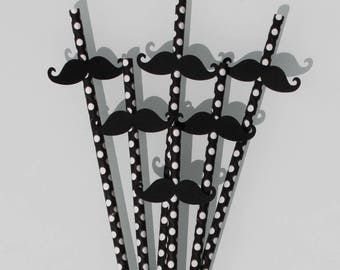 Set of 6 black mustache paper straws white dots for father's day