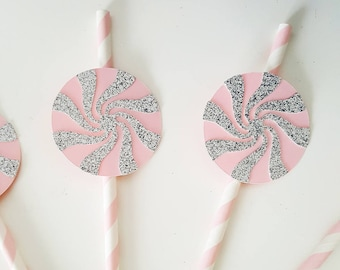set of 6 paper straws, lollipop - way - candy pink silver