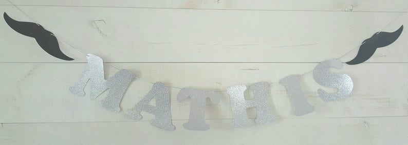 glitter paper mustache Garland name cotton paper coating maximum 10 letters or elements