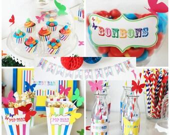Children's birthday decoration, rainbow butterfly decoration, for 6 children-candy bar