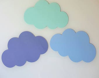 Set of 3 clouds-wall decor - bedroom - baptism - 28 cm