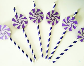 set of 6 paper straws, lollipop - way lollipop - purple silver