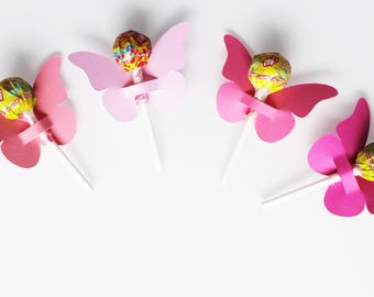 10 cardstock for lollipops - party table decoration - Butterfly pink