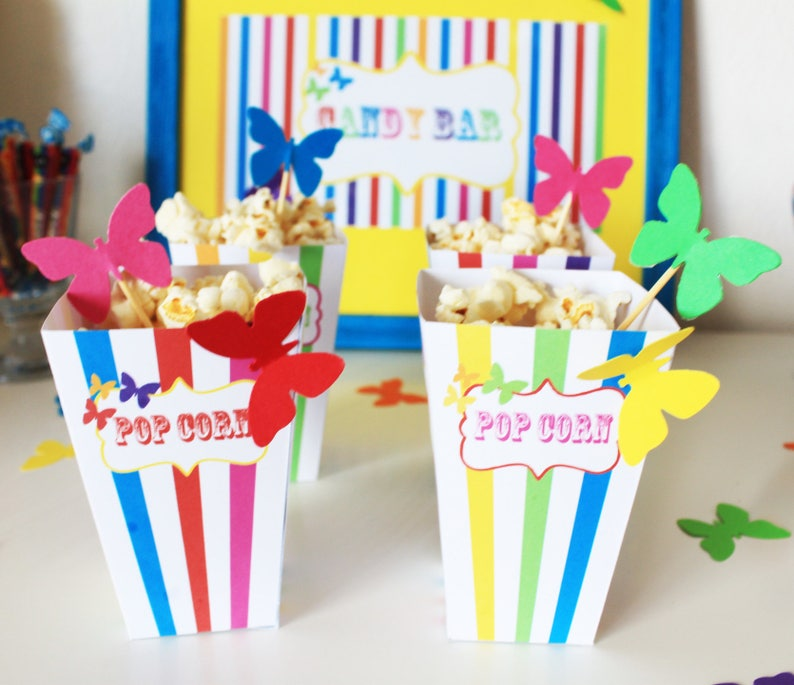 Small box pop corn-theme Rainbow and Butterfly  multicolored image 0