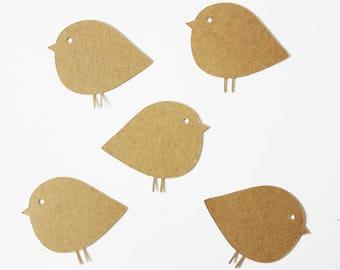 5 cards - bird - kraft