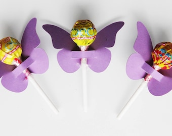 10 cardstock for lollipops - party table decoration - butterflies purple