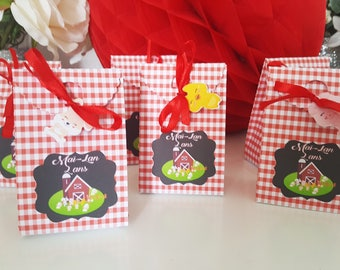 "Sugared almonds or candies-birthday - themed ""la ferme"" - gingham - red animal farm-customizing the text box"