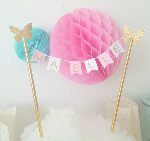 custom name-straws and stars-gold pink letters Mini cake Garland