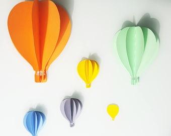 Set of hot air balloon wall stick - 3D paper 210 gr - kids room decoration