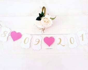 """Date + heart"" Garland - wedding - paper tape - date + 2 hearts"