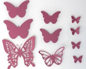 Set of 10 butterflies pink hydrangea