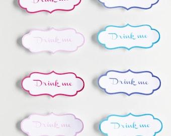 """10 labels """"Drink me"""" hug - 4.5 cm x 2 cm format"""
